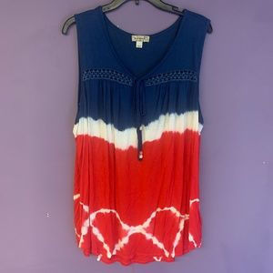 Red, white and blue tie dyed top